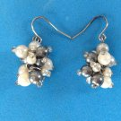 "FUN FANCY LIGHTWEIGHT WHITE & BLACK PEARL DANGLE PIERCED EARRINGS @1.5"" X .75"""