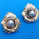 "VINTAGE GOLD TONE RHINESTONE AND PEARL CLIP ON EARRINGS @ 1 1/4"" DIAMETER"