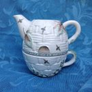 RETIRED NATUREWOOD INDIVIDUAL TEAPOT AND TEA CUP - MISSING TOP