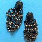 "3 1/4"" LONG DANGLING BLACK GOLD TONE BEADS IRIDESCENT SEED BEAD PIERCED EARRINGS"