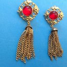 "3"" LONG SEXY GOLD TONE WITH RED STONE & DANGLE TASSLE PIERCED EARRINGS"
