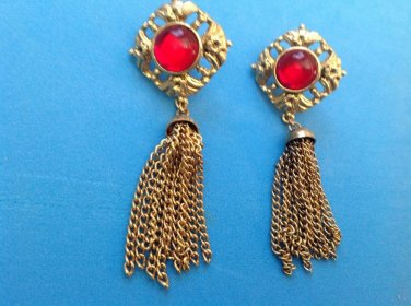 """3"""" LONG SEXY GOLD TONE WITH RED STONE & DANGLE TASSLE PIERCED EARRINGS"""