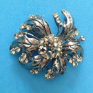 "BIG DRAMATIC DEEP GRAY & CLEAR RHINESTONE PIN 2 1/2"" x 2"". EYE CATCHING !!"