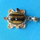 "LOVELY STERLING SILVER TIGERS EYE & MULTI STONE FANCY PENDANT 2 1/8"" X 1 1/4"""