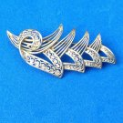 "BEAUTIFUL VINTAGE STYLIZED LEAF PIN IN 800 SILVER FILIGREE @ 2"" x 1"""