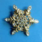 "SPARKLING RHINESTONE AND GOLD TONE SNOWFLAKE PIN @2"" X2"""