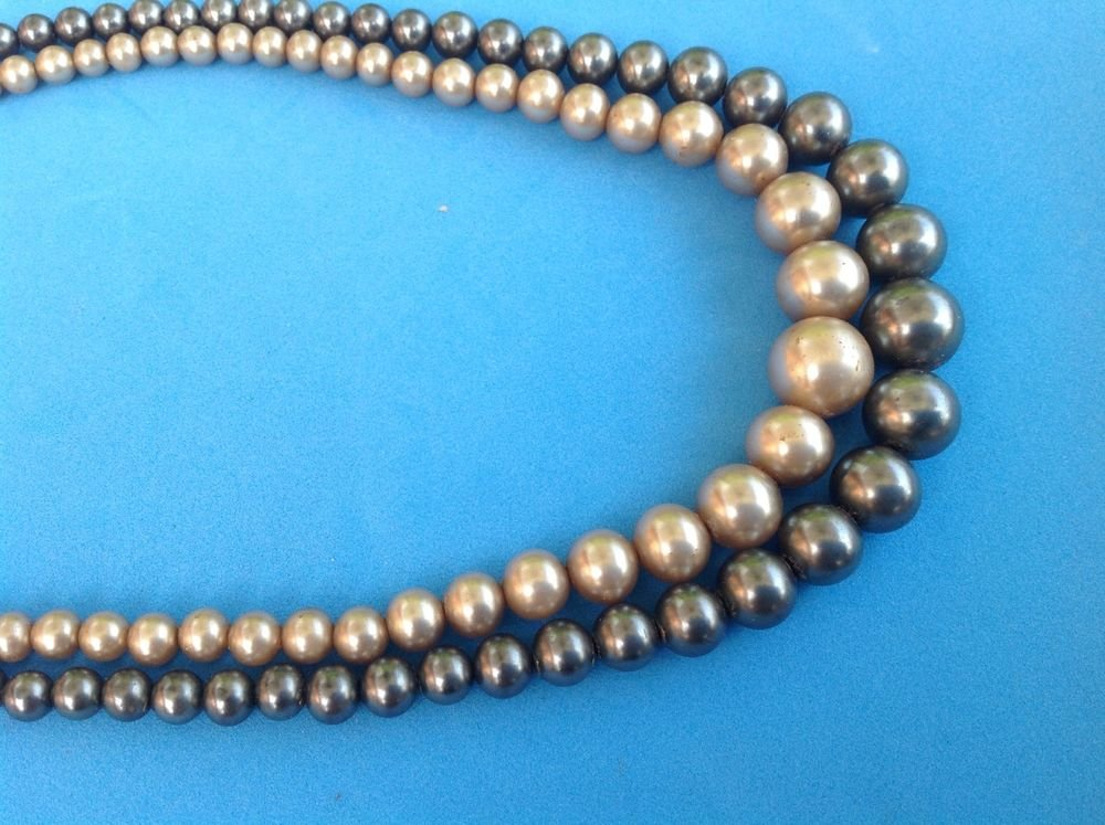 """VINTAGE DOUBLE STRAND OF FAUX PEARLS WITH A STERLING SILVER CLASP 16.5"""" X 1/2"""""""