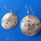 "SILVER PLATED ENGRAVED 1 1/4"" DIAMETER DANGLING PIERCED EARRINGS CARVED DESIGN"