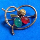 "VINTAGE 3 STONE SCARAB IN GOLD FILL ""WRE"" PIN 1 1/4"" X 1"" DIFFERENT PIECE !!"