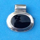 "CLASSIC STERLING SILVER AND ONYX PENDANT 3/16"" LOOP FOR CHAIN. JUST BEAUTIFUL !!"