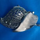 "VINTAGE SILVER TONE TEXTURED STYLIZED LEAF FLORAL PIN 2 3/4"" X 2 1/2"" VERY NICE!"
