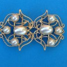"LOVELY 2 PART BUCKLE CLASP FANCY GOLD TONE & FAUX WHITE PEARLS 3"" x 1 3/4"" NICE!"