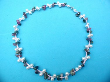 LOVELY FEMININE REAL PEARL AMETHYST? GREEN STONE PINK CHORD NECKLACE CHOKER