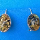 STERLING SILVER & CRACKLED TOPAZ COLORED STONE DANGLING PIERCED EARRINGS