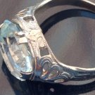 VINTAGE UNMARKED SILVER TONE WITH LIGHT AQUA COLORED STONE COSTUME RING SIZE 6