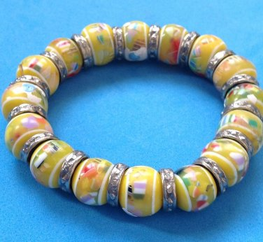 BOLD & BEAUTIFUL BLOWN? FUSED? MURANO? GLASS BEADED BRACELET VERRY STRIKING!