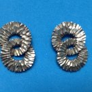 "STERLING SILVER DOUBLE CIRCLE TEXTURED PIERCED EARRINGS 1"" X 3/4"" VERY NICE !!!"