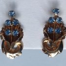 "VINTAGE ANTIQUE GOLD FILL BLUE STONE VAN DELL SCREW ON EARRINGS 1"" X 1/2"""