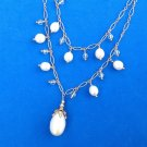 FANCY DOUBLE STRAND UNMARKED GOLD TONE WHITE PEARL TOGGLE CLASP DANGLE NECKLACE