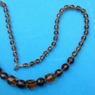 """LOVELY AMBER & TOPAZ FACETED GLASS? BEADS 26"""" LONG X 1/2"""" AT THE WIDEST-SWEET!"""