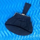 "VINTAGE BLACK FABRIC GOLD TONE METAL TRIM CUTE LITTLE EVENING BAG 9"" x 6"" x 2"""
