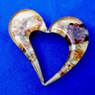 STERLING SILVER WITH REAL FLOWERS SET IN ACRYLIC STYLIZED HEART PIN -LOVELY !!