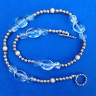 "TEXTURED & SHINY STERLING SILVER & CLEAR GLASS BEAD NECKLACE TOGGLE CLOSE 18"" L."