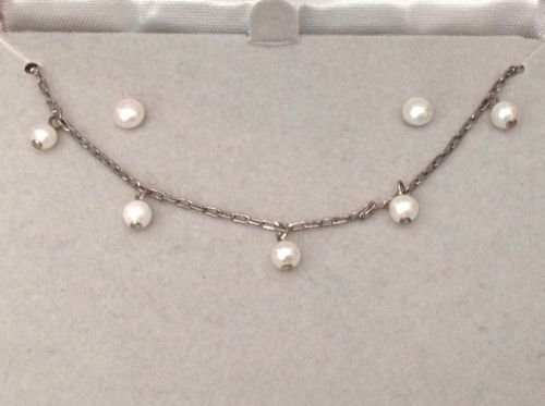 LOVELY WHITE PEARL STERLING SILVER NECKLACE PIERCED STUD EARRING SET MIB NEVER WORN 16 1/2""
