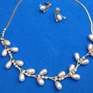 "PRETTY RHINESTONE WHITE PEARL GOLD TONE 15"" NECKLACE 3/4"" PIERCED EARRING SET"