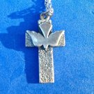 "STERLING SILVER 20"" CHAIN & 1 1/8"" X 3/4"" CROSS WITH DOVE NECKLACE"