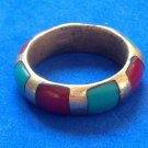 VINTAGE ARTIST MADE / HANDMADE TURQUOISE CORAL & BRASS UNI SEX RING SIZE 7