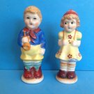 "VINTAGE LARGE ""HUMMELESQUE"" BOY & GIRL SALT & PEPPER SHAKERS MADE IN JAPAN"