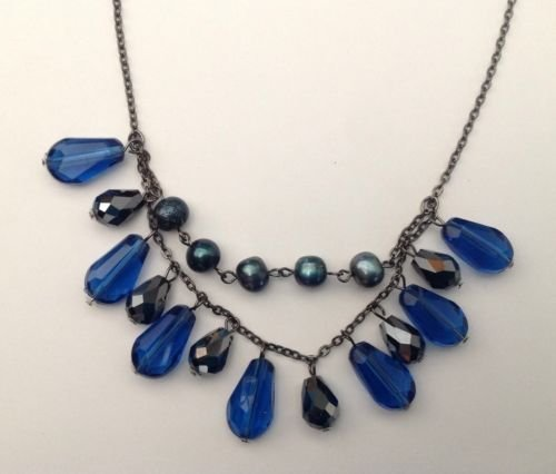 """FEMININE 2 STRAND DANGLING BLUE, FACETED BLACK & GRAY PEARL NECKLACE 20"""" LONG"""
