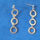 "TRIPLE DANGLING CIRCLES STERLING SILVER PIERCED EARRINGS 1 7/8"" X 1/2"" LOVELY !!"