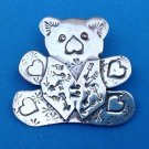 STERLING SILVER TEDDY BEAR WITH HEARTS PIN PENDANT