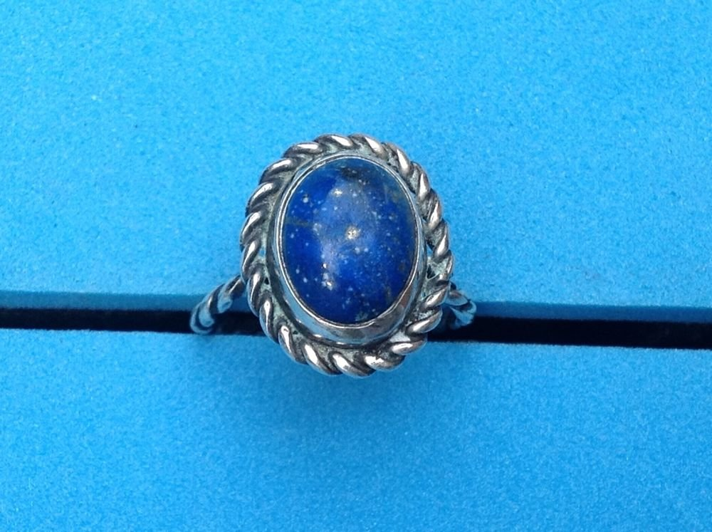 NICE LAPIS WITH STERLING SILVER RING SIZE 5 1/2