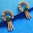 VINTAGE P&F GOLD FILLED WITH CLEAR & GREEN RHINESTONES SCREW ON DANGLE EARRINGS