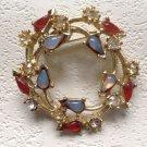 "STUNNING VINTAGE PIN COSTUME OPALS RUBIES & RHINESTONES 1 1/2"" DIAMETER"