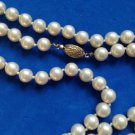 """VINTAGE 52"""" LONG !!! X 3/8"""" KNOTTED CREME FAUX PEARLS LOVELY GOLD TONE CLASP"""