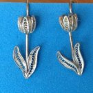 STERLING SILVER FILIGREE TULIP DESIGN PIERCED EARRINGS