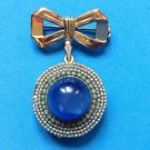 "VINTAGE GOLD TONE FAUX MOONSTONE & PEARL  DANGLING LOCKET PIN 2"" X 1 1/4"" SWEET!"