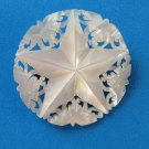 VINTAGE ANTIQUE CARVED STAR IN MOTHER OF PEARL PIN CLASP MARKED BETHLEHEM 1 1/2""