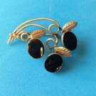 "LOVELY VINTAGE AMCO GOLD FILL AND ONYX PIN 1.75"" X 1.25"" STYLIZED FLORAL DESIGN"