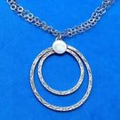 "VINTAGE ""P.R. EX"" STERLING SILVER PENDANT ON DOUBLE CHAIN NECKLACE 16"" X 1.75"""