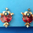 "ELEGANT ANTIQUE VINTAGE STERLING SILVER RED & CLEAR STONE CLIP ON EARRINGS 1 1/4"" x 7/8"""