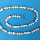 """BEAUTIFUL STRAND OF REAL PINK COLORED PEARLS UNMARKED SILVER TOGGLE CLASP 24"""""""