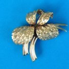 """STUNNING """"GERMANY"""" YELLOW GOLD RGP PLATED FLORAL PIN 2"""" x 1 1/2"""" BEAUTIFUL !"""