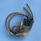 """VINTAGE WINARD JADE AND GOLD FILL STYLIZED FLORAL PIN 1 1/2"""" X 1 1/4"""""""