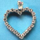 STERLING SILVER & RHINESTONE HEART PENDANT - SPARKLES !!!