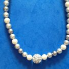 "VINTAGE ""CAROLEE"" 17 1/2"" WHITE LIGHT & DARK GRAY PEARL & RHINESTONE NECKLACE"